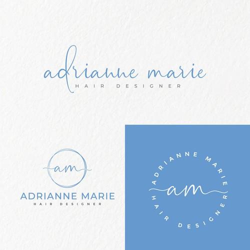 """Feminine logo concept for a hair designer """"Adrianne Marie"""""""