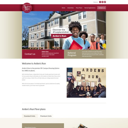 Website layout for campus housing institution