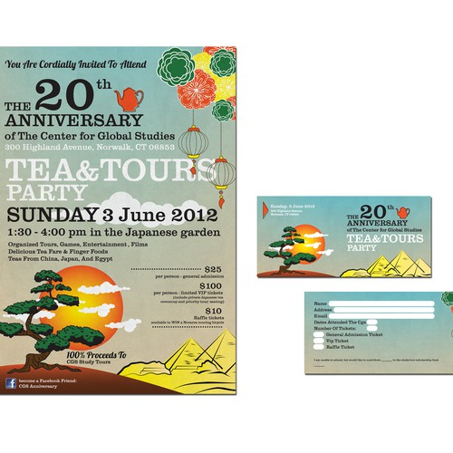 Arty & Funky Invitation design for our 'Tea and Tours' Anniversary party