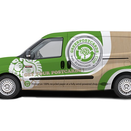 Car wrap for Green Postcards