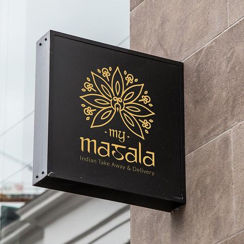 Thin, elegant logo for Indian Restaurant My Masala