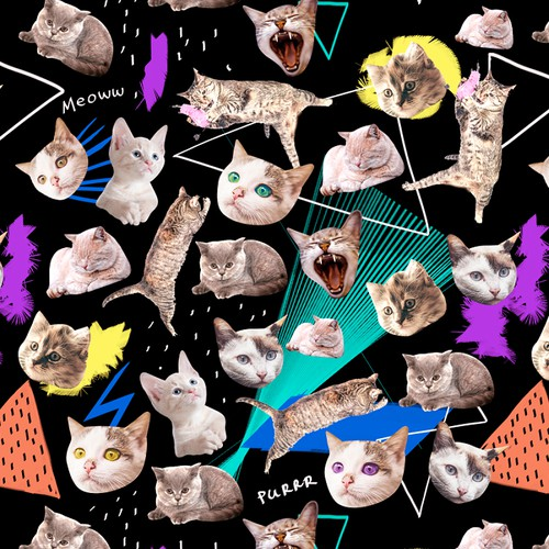 Bold Hipster Cats pattern for clothing