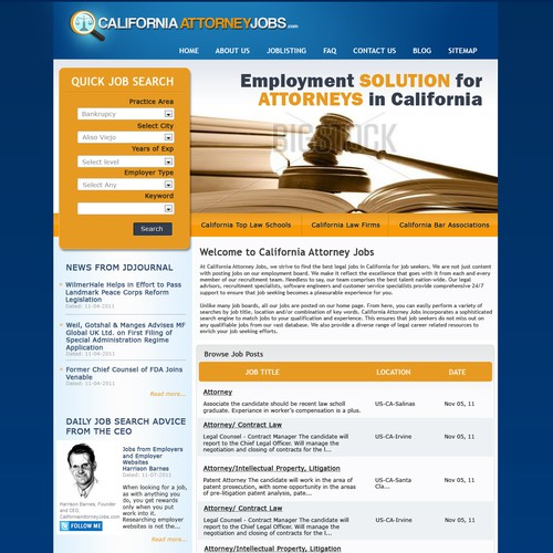 Web Redesign for California Attorney Jobs