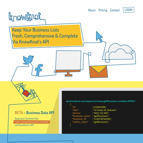 Landing page for new Data API using cool illustration