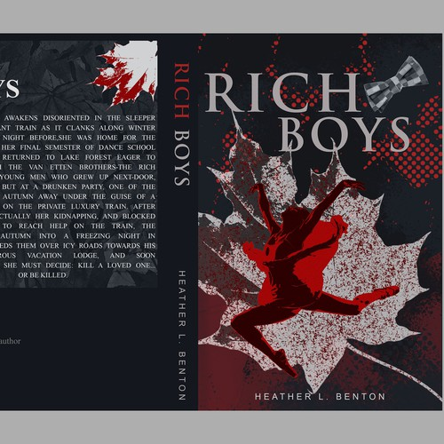 Elegant cover for SUSPENSE novel RICH BOYS, design credit will be given in book