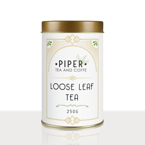 Art deco inspired label for a loose leaf tea company
