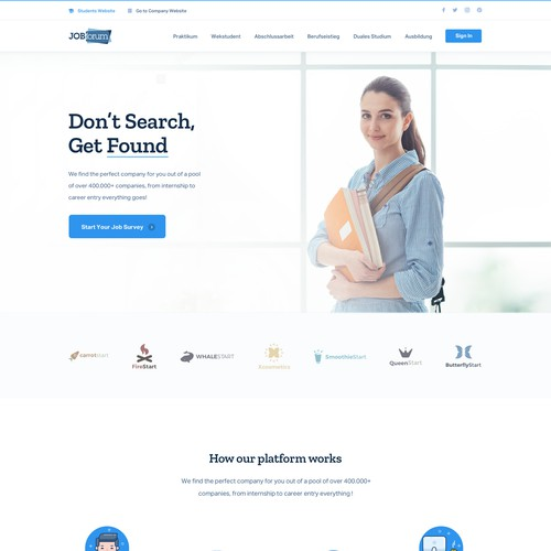 Web Design for Student Job Portal