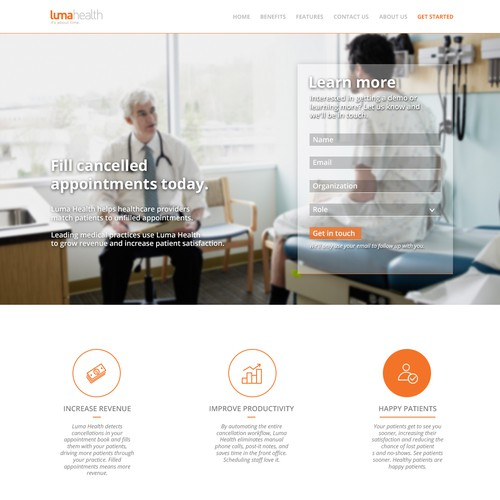 Website concept for medical app