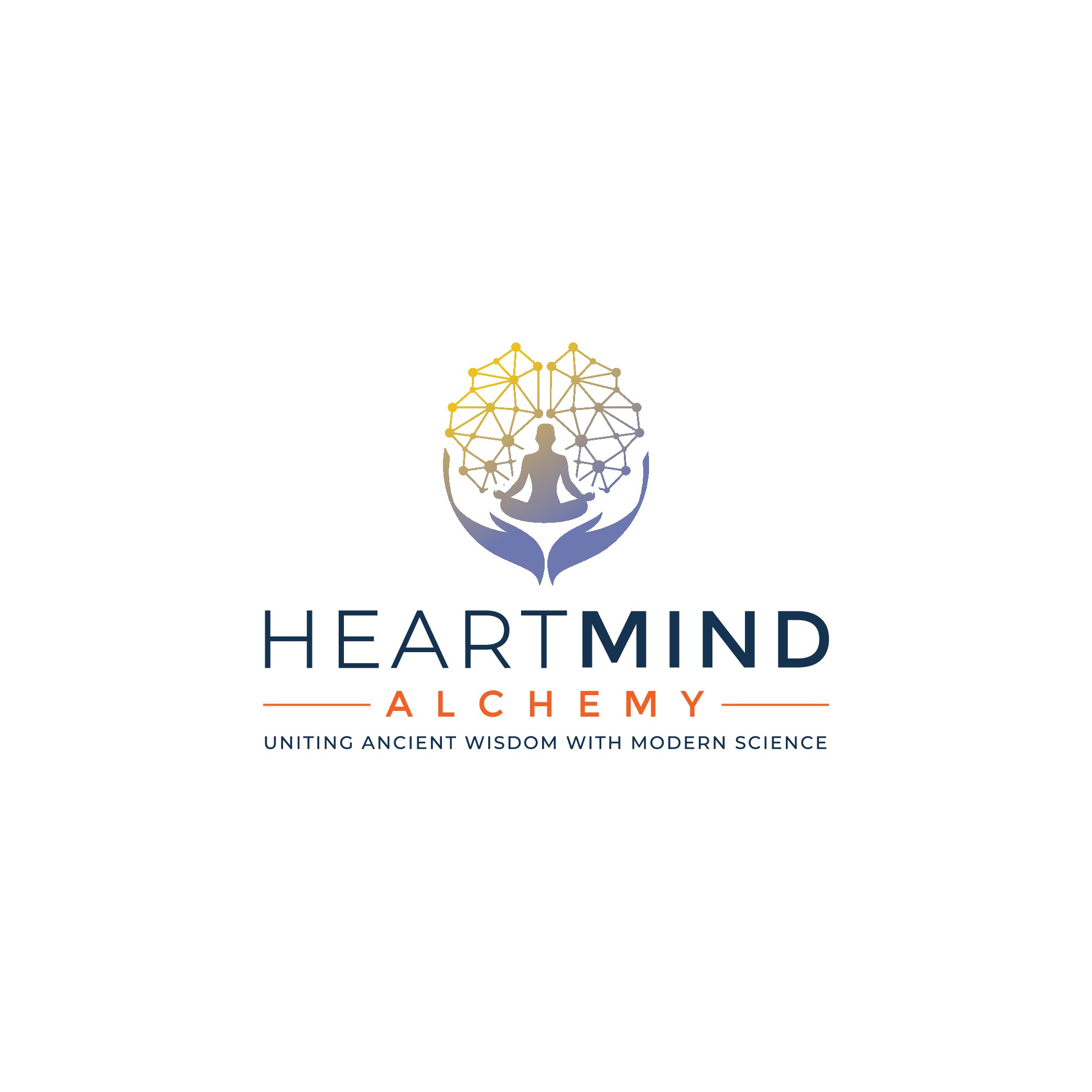 Design a hip logo for meditation coach that unites ancient wisdom and modern science