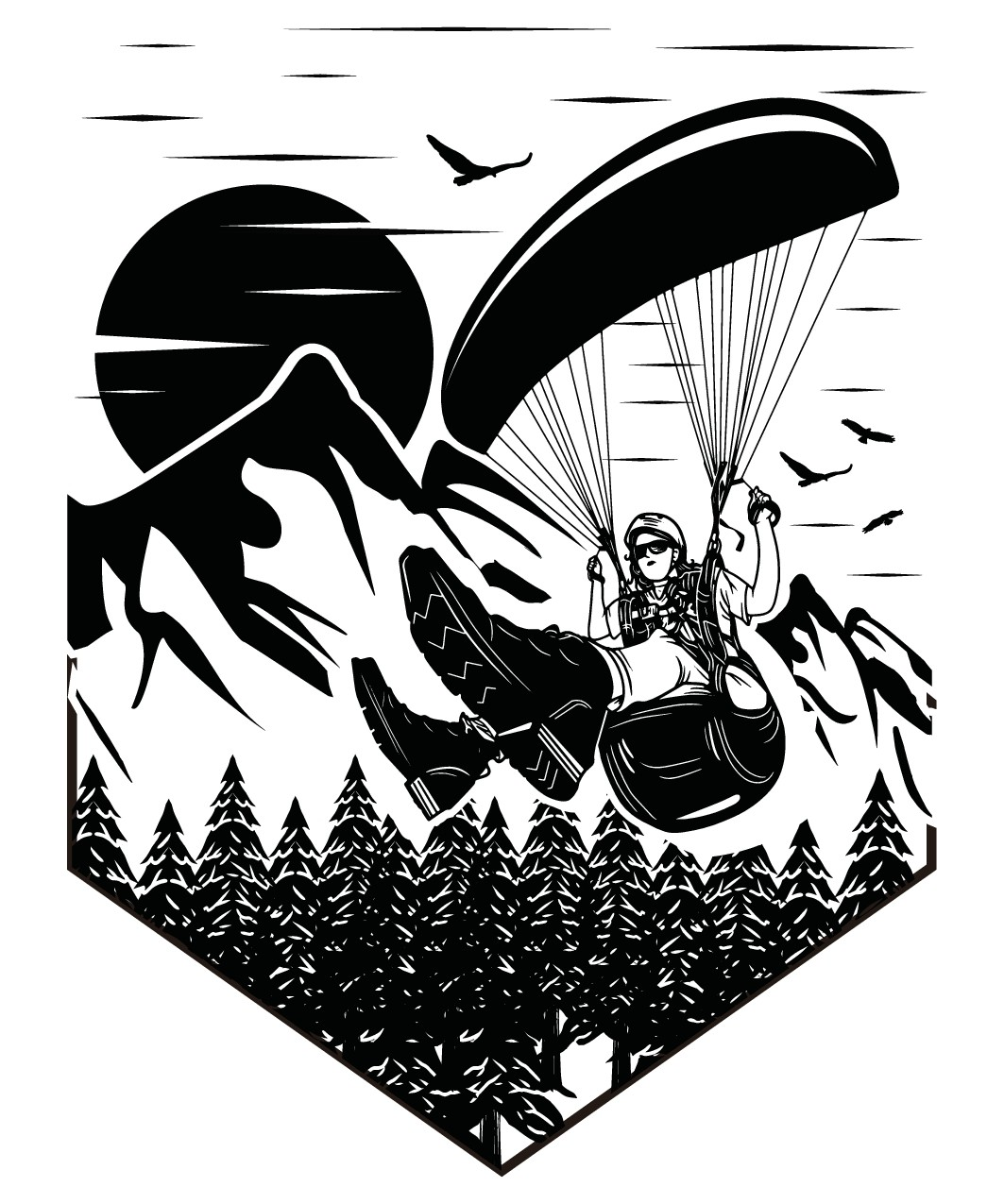 Erstelle ein T-Shirt für Gleitschirm Pilotinnen