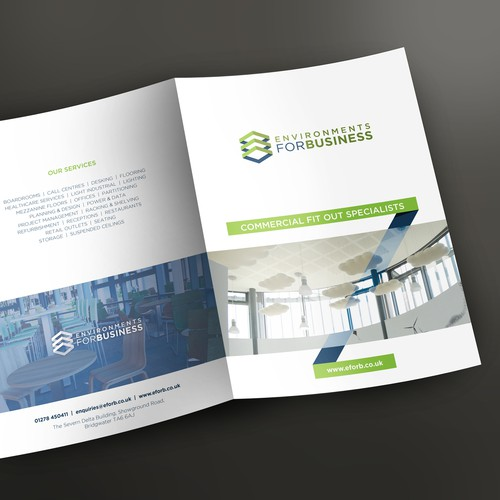 Clean brochure for commercial interior specialists