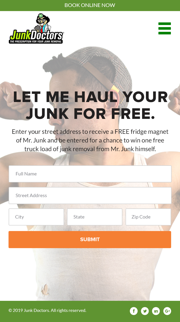 Mr. Junk Landing Page and Email Layout Revisions