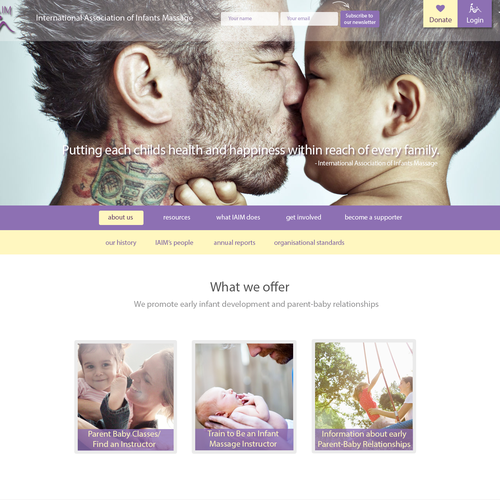 Create a website design for children's charity