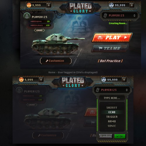 Redesign UI Design for Plated Glory Game