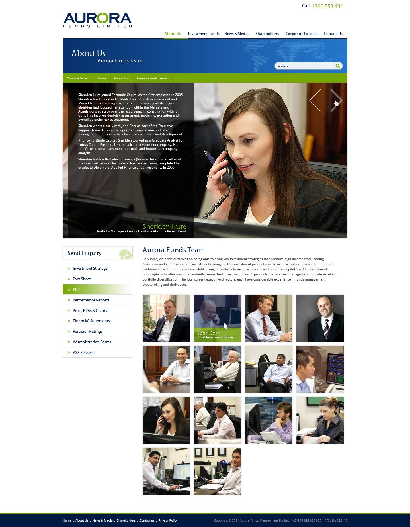 Help Aurora Funds Management with a new website design