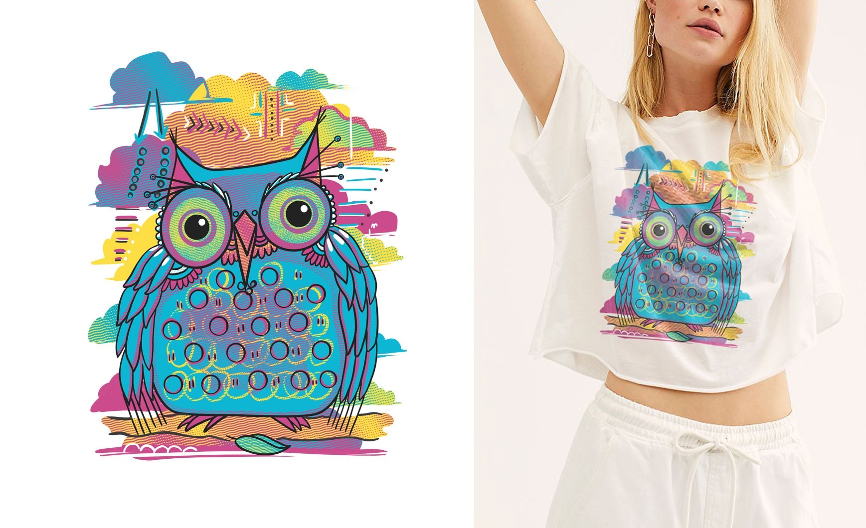 Cute Owl Art T-Shirt