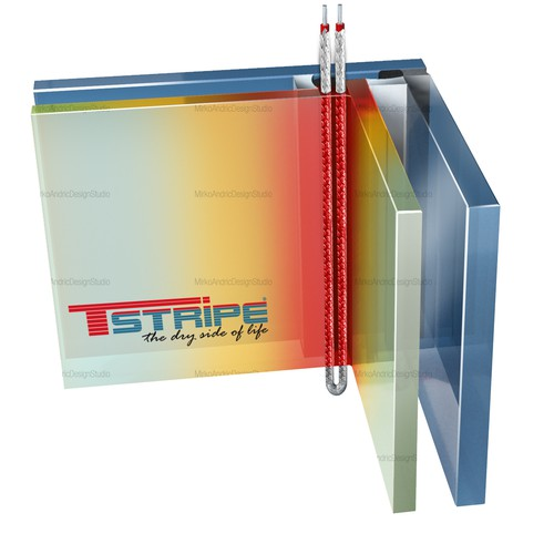 3D Graphic for T-STRIPE window heating System!