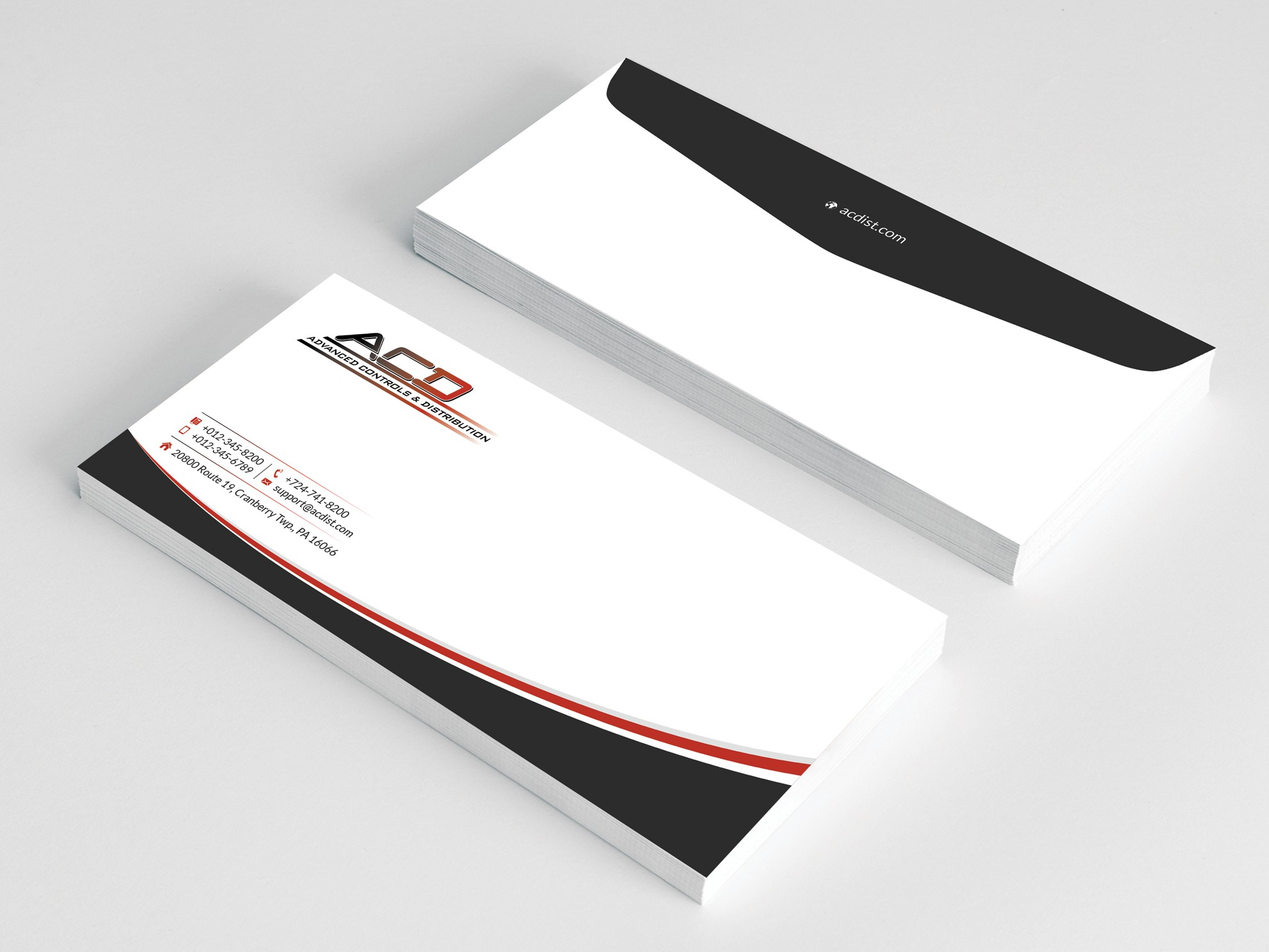 Create industrial yet innovative/modern business card/letterhead for industrial distributor.