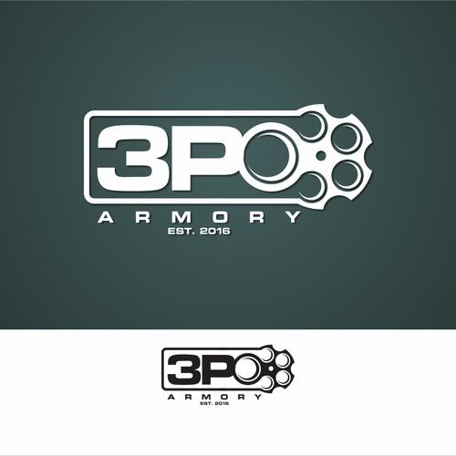 Bold logo concept for 3P0 Armory