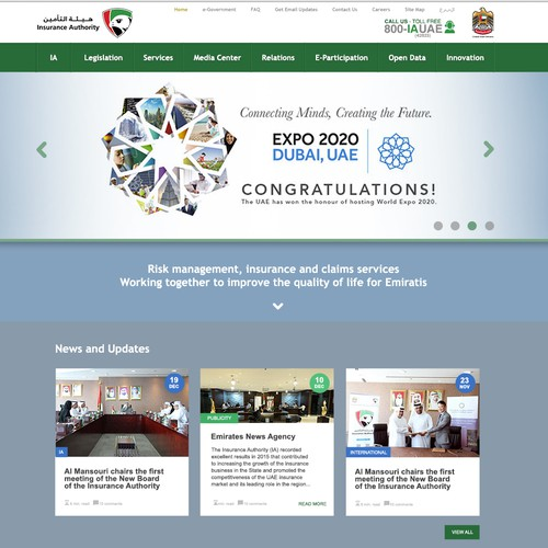 Website design for IA UAE