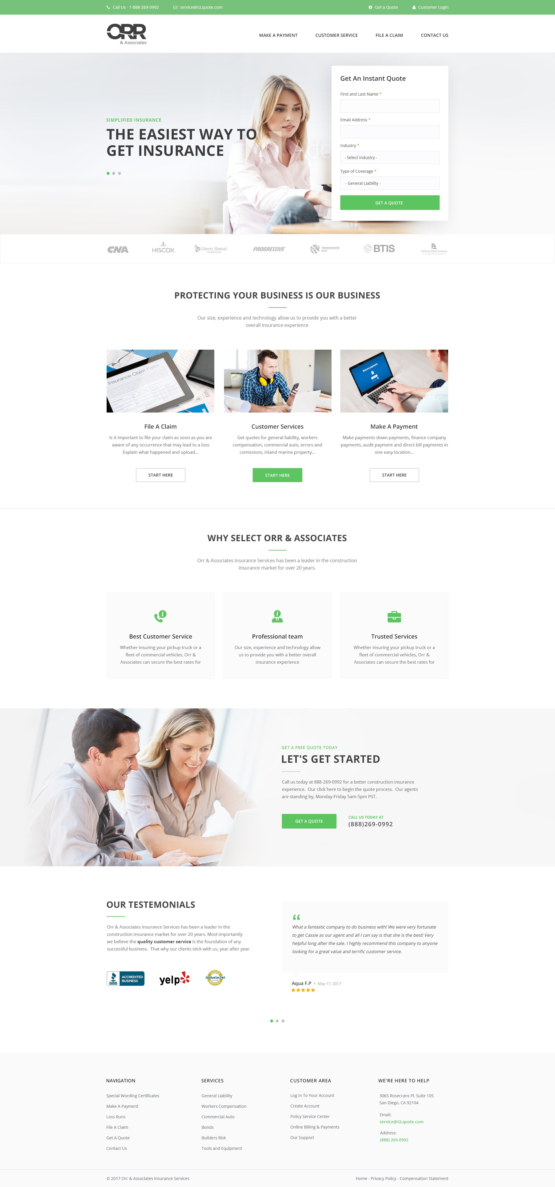 Design a clean insurance homepage