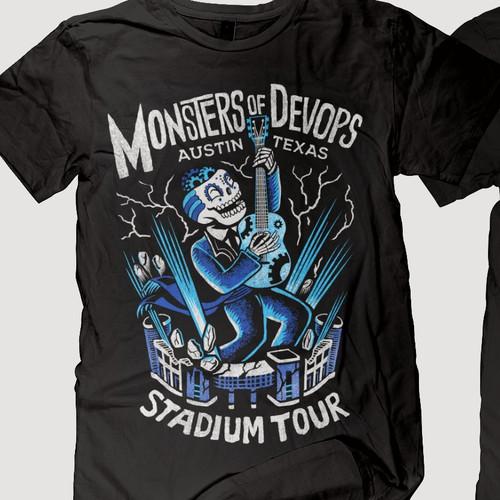 monster band t shirt tour design