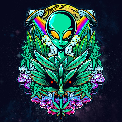 marijuana cannabis alien illustration