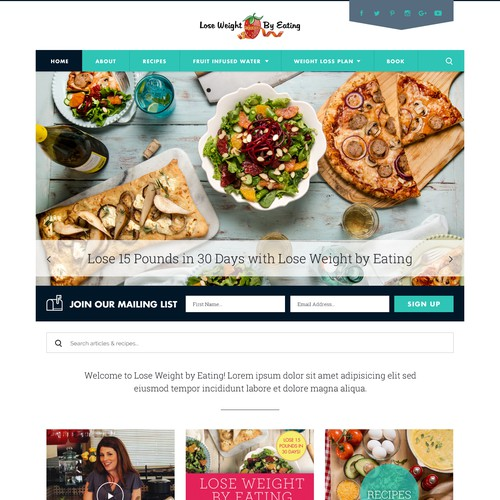 A web design for a Weight loss and recipe blog