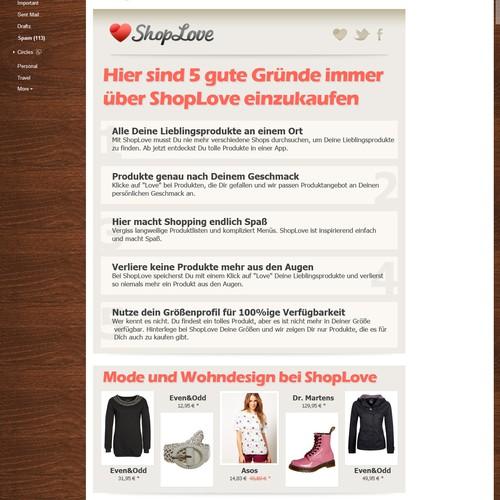 Template für Wilkommensemail einer iPad Shopping App