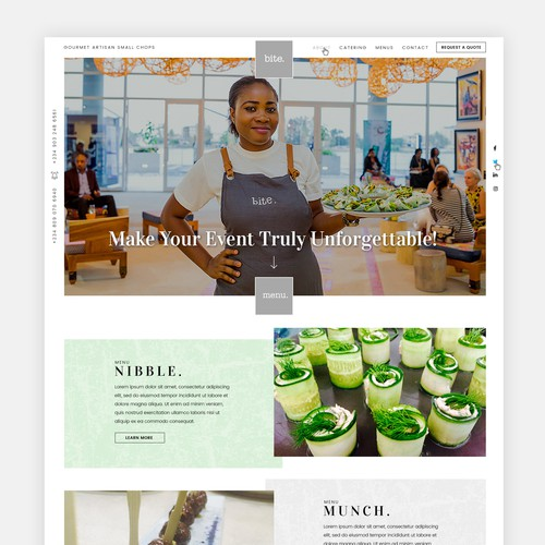 catering company webpage design