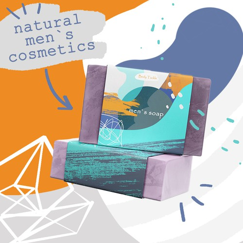 Ad concept for men`s cosmetic soap