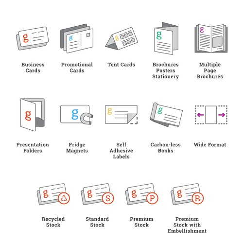 Range of Printing Product Icons