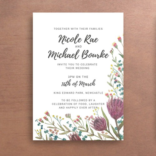 Australian native flower wedding invite