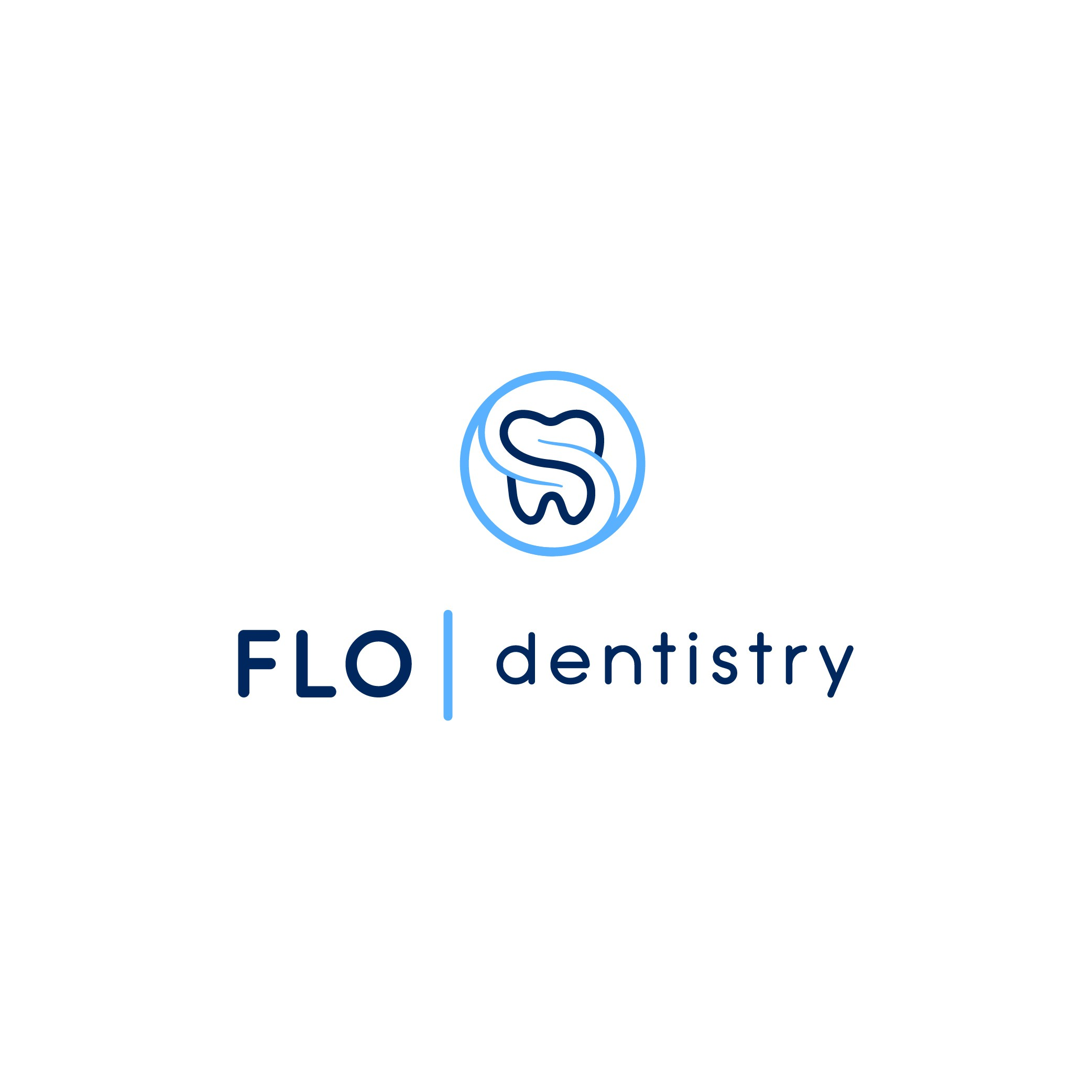 Logo for a dental office that has a crisp, modern, and welcoming feel.