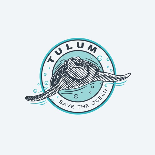 Sea Turtle Scratchboard Logo Design