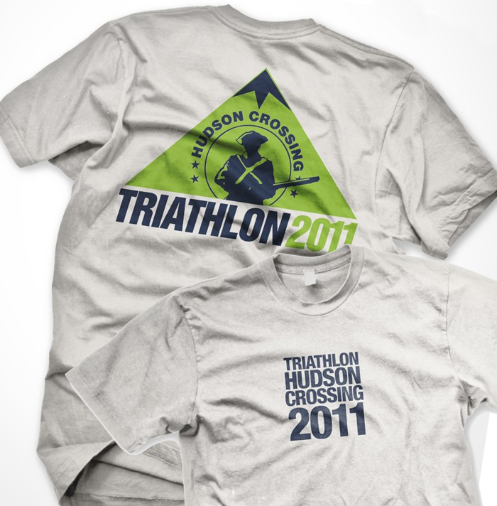 t-shirt design for A triathlon (swim/bike/run event) at a historic site