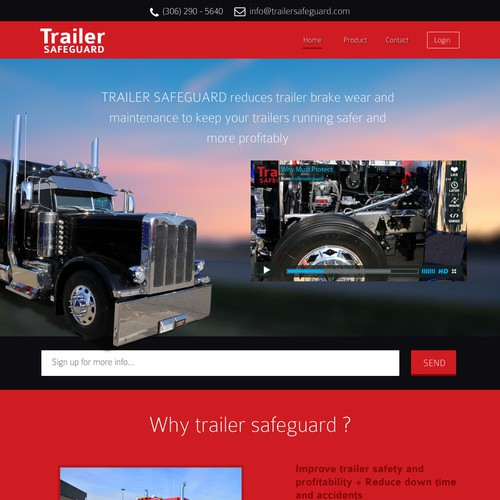 New landing page wanted for Trailer Safe Guard