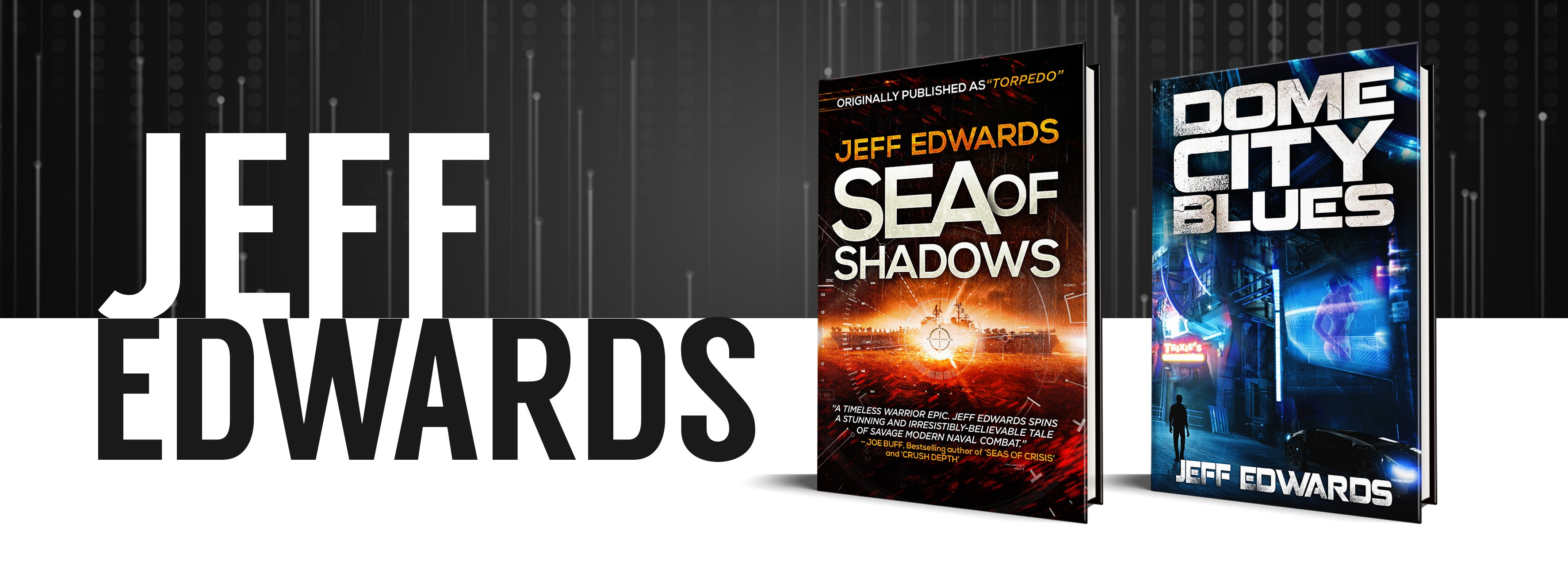 Create an eye-catching Facebook cover design for a thriller author.
