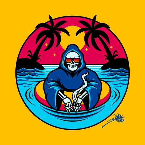 Skull Beach an surf t shirt design