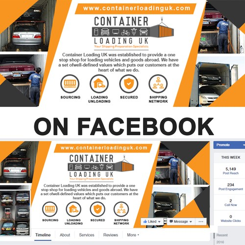 Facebook Cover page design for container loading