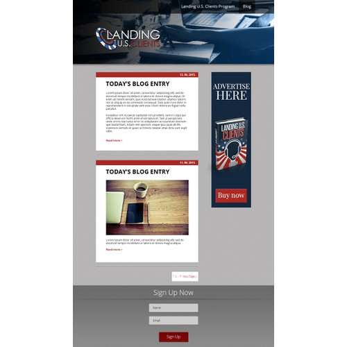 Design an impactful template for a starting blog at LandingUSClients.com