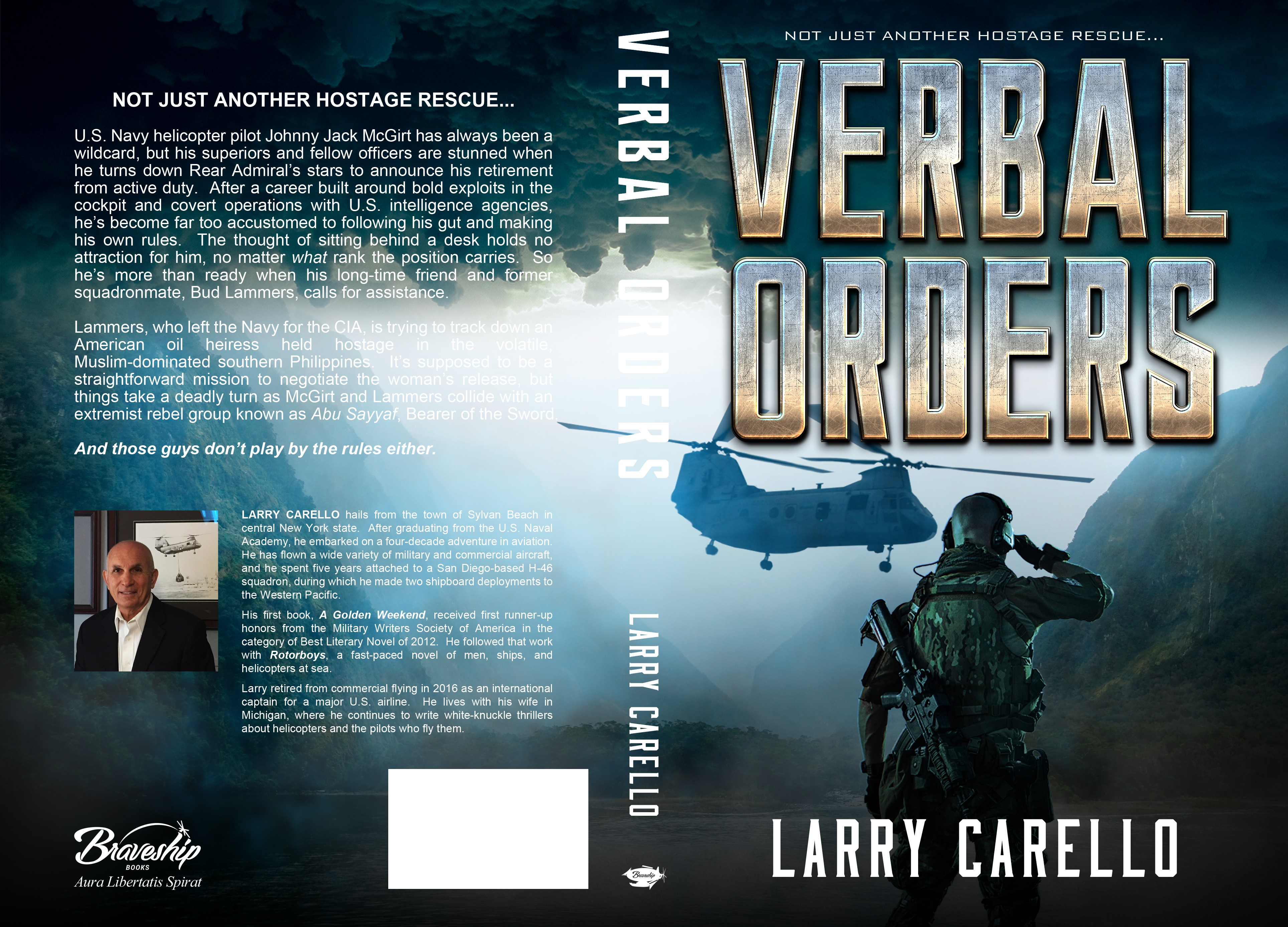 Create an exciting cover for a military thriller novel about U.S. Navy helicopter pilots.