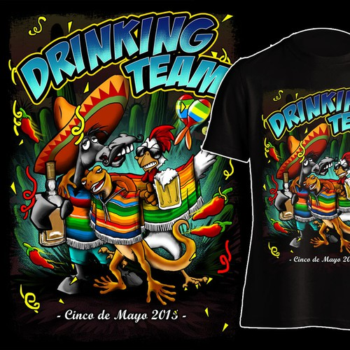 Trio of fiesta drinking animals - Cinco de Mayo