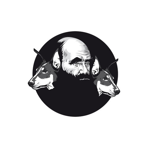 Portrait of Charles Darwin with watchdogs for a new logo!
