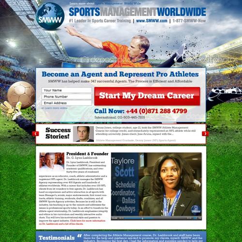 Landing Page design for Sports Management Training