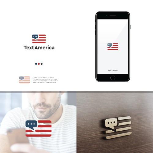 Logo concept for TextAmerica that allows non-profit organizations, government agencies, and others to send bulk text messages