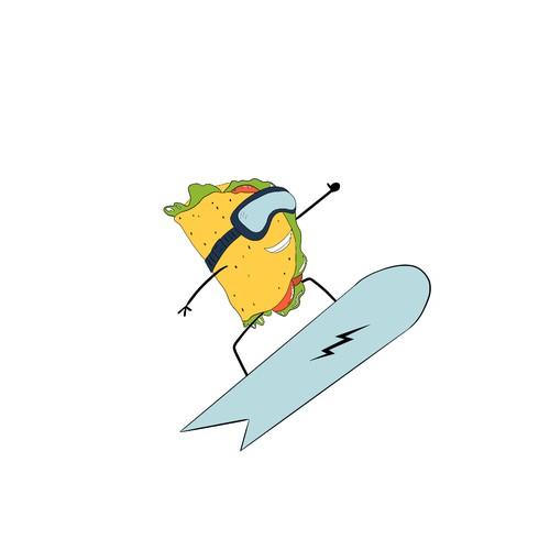 Snowboarding Taco Tattoo
