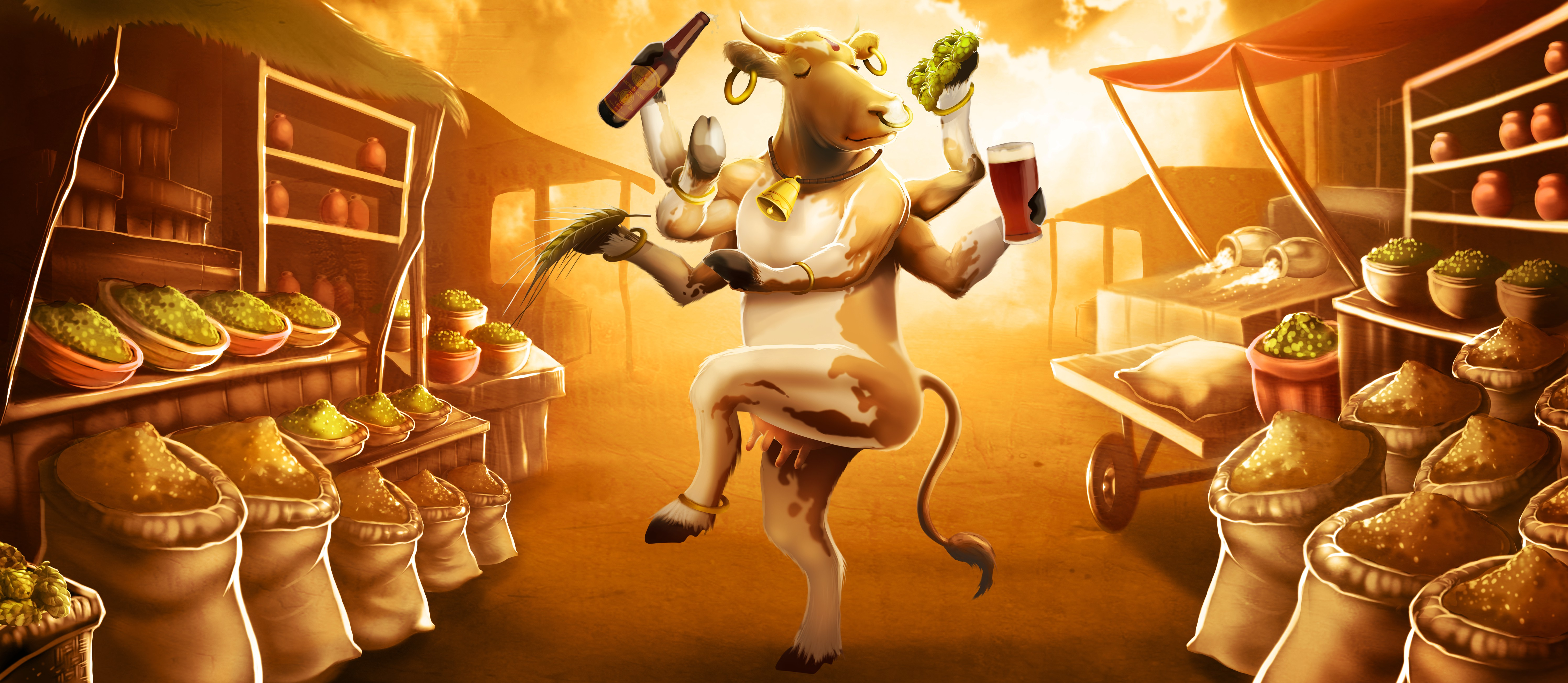 Create an eye-catching Sacred Cow illustration for Arbor Brewing Company