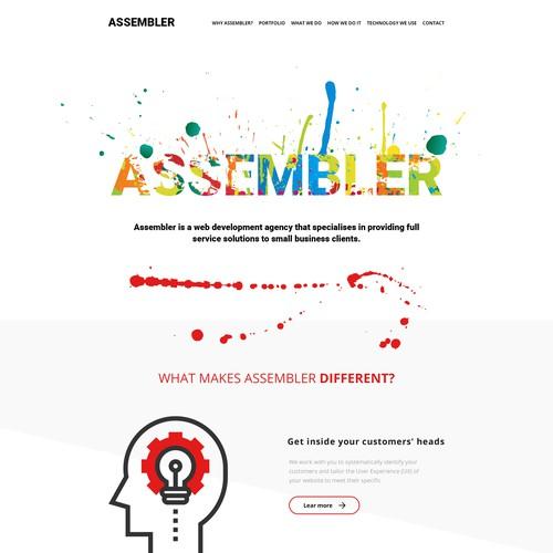 Homepage for a web development company