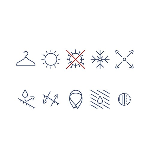 Set of icons for a fabric company